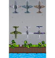 Top view of jet planes in different design vector image