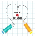 Two pencils drawing dash heart Paper sheet vector image