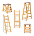 wood household steps isolated wooden ladder vector image