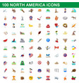 100 north america icons set cartoon style vector image