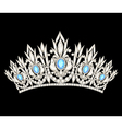 tiara crown womens wedding with a light blue stone vector image vector image
