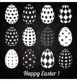 Set of Black Easter Eggs with Patterns vector image vector image