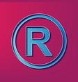 registered trademark sign  blue 3d printed vector image