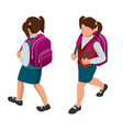 isometric girl back to school concept a student vector image