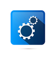 Blue Square Cogs Gears Icon vector image vector image