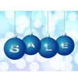 Blue Christmas balls with silver word Sale vector image vector image