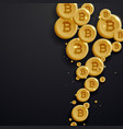 digital bitcoins currency golden coin on dark vector image