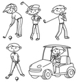 doodle golf players set vector image