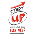 Start your own business concept hand lettering vector image