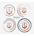 Thin line neat design logo shield icon set vector image