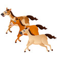 three horses running in group vector image