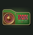 roulette table and wheel vector image vector image