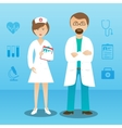Medicine doctor man woman character banner vector image vector image
