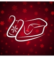 Calligraphic winter sledge on shine red background vector image