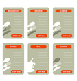 meal calorie cards vector image vector image