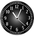 Silver wall clock with black face vector image
