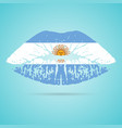 argentina flag lipstick on the lips isolated on a vector image