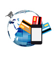 Online shopping mobile phone vector image