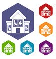 house with broken windows icons set vector image