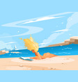girl reading book on sunny beach vector image