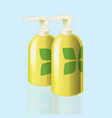 Realistic mockup cosmetic bottle with print vector image