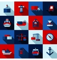 Seaport Color Flat Shadows Icons Set vector image