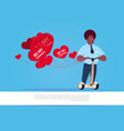 african american man with heart shaped air vector image