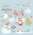 set of christmas characters and icons vector image