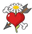 Red heart piercing arrow symbol of love Bone is vector image