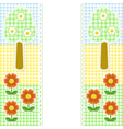 Spring frame with flowers on textile background vector
