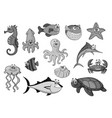 Fishes and ocean animals cartoon icons vector image