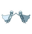 blue silhouette with couple of superheroes flying vector image