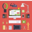 Items from the digital artist workplace vector image