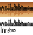 Innsbruck skyline in orange vector image
