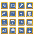 architecture icons set blue vector image