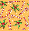 christmas seamless pattern with candy vector image