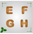 Gingerbread font e to h vector image