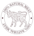 Natural meat stamp with bull vector image