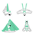 set of aerial fly yoga poses anti-gravity yoga vector image