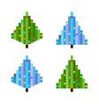 set of four pixel art christmas trees flat vector image