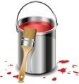 Paint bucket with paint brush vector image vector image
