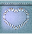 denim valentines day background embroidered jeans vector image