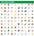 100 old icons set cartoon style vector image