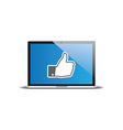Like icon on laptop vector image