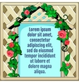Wooden frame decorated with roses greeting card vector image