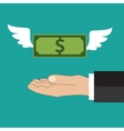 Dollar with wings flying at buisness man hand vector image