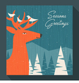 greeting card winter scene with deer and birds vector image