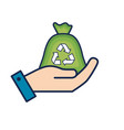 hand with bag recycle to environment care vector image