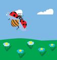 ladybug flying over the meadow vector image