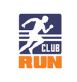 run club logo template emblem with running man vector image